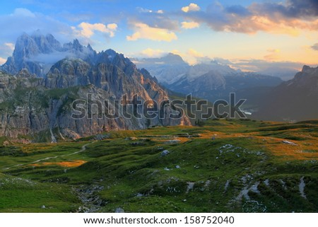 Sunset over Cadini di Misurina as seen from Auronzo refuge, Dolomite Alps, Italy - stock photo