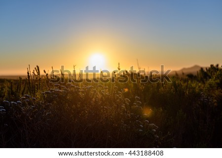 Sunset over Cape peninsula, Cape Town, South Africa - stock photo