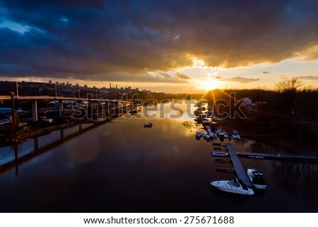 Sunset over channel to Ada marine in Belgrade, Serbia - stock photo