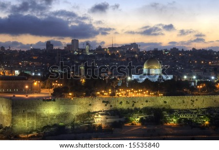 sunset over City of David in warm summer evening
