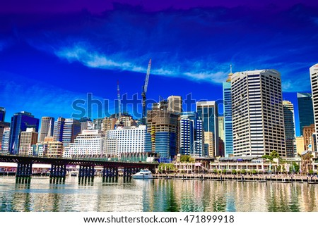 Sunset over Darling Harbour, Sydney - Australia.