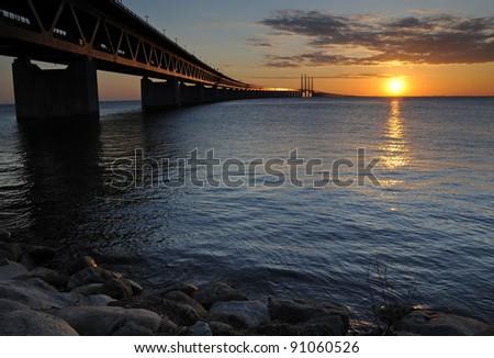 Sunset over Denmark - stock photo