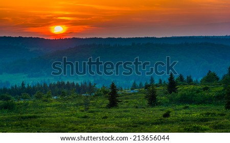 Sunset over Dolly Sods Wilderness, Monongahela National Forest, West Virginia. - stock photo