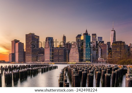 Sunset over Downtown Manhattan - stock photo
