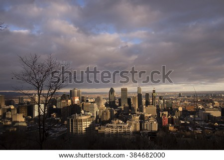 Sunset over Downtown Montreal in Winter - stock photo