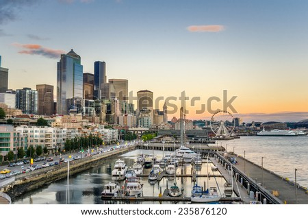 Sunset over Downtown Seattle and Waterfront - stock photo