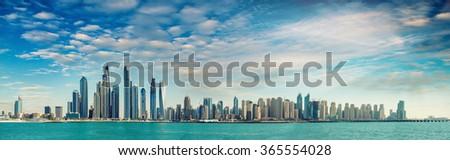 Sunset over Dubai Marina skyscrapers, United Emirates. - stock photo