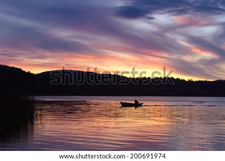 Sunset over Elk lake,Victoria,BC, Canada - stock photo