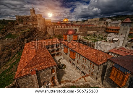 Sunset over Famous Renovated Medieval Rabati Castle in Akhaltsikhe, Georgia