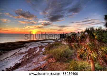 Sunset over Florida Coastline - stock photo