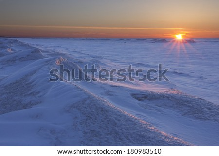 Sunset Over Frozen Lake Huron - Ontario, Canada