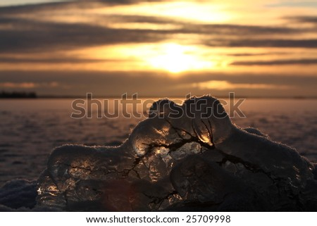 Sunset over frozen lake in winter, Finland, frozen branch detail - stock photo