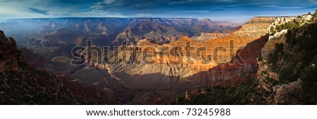 Sunset over Grand Canyon from South Rim - stock photo