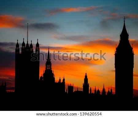 Sunset over Houses of Parliament in London - stock photo