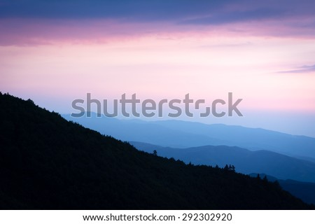 Sunset over Kartepe, Kocaeli, Turkey.  Layers and atmosphere. - stock photo
