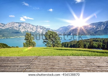 Sunset over lake Attersee and austrian Alps near Salzburg, Austria Europe - stock photo