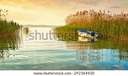 Sunset over lake Balaton, Hungary - stock photo
