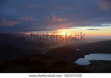 Sunset over Lake Kaniere, New Zealand - stock photo