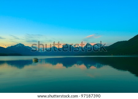Sunset over Lake Mcdonald in Glacier National Park - stock photo