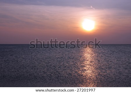 Sunset over Lake Michigan - stock photo