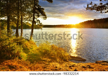 Sunset over Lake of Two Rivers in Algonquin Park, Ontario, Canada - stock photo