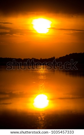Sunset over lake water surface