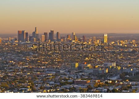Sunset over Los Angeles - stock photo