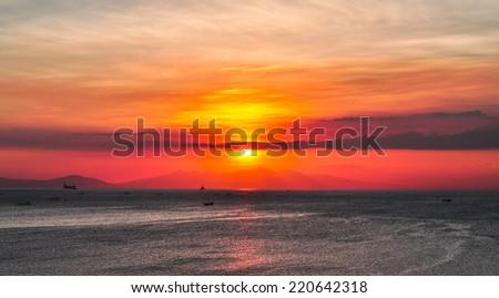 Sunset Over Manila Bay - Philippines - stock photo