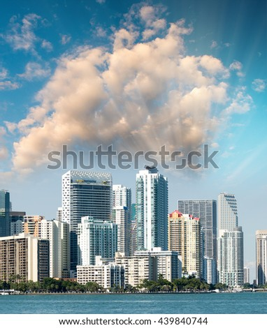 Sunset over Miami, Florida. Beautiful skyline and skyscrapers.