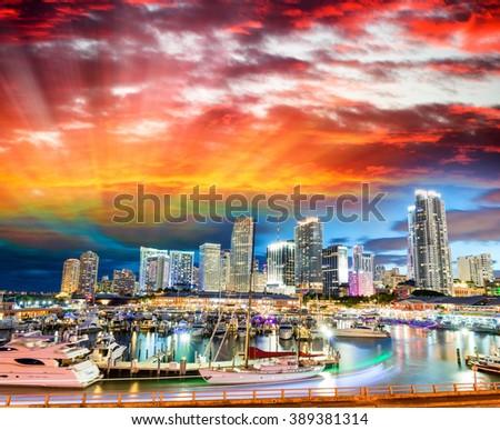 Sunset over Miami, Florida. Wonderful cityscape at dusk. - stock photo