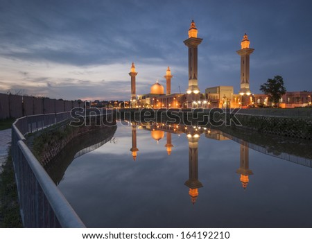 Sunset Over Mosque With Reflection,Malaysia.jid tengku ampuan jemaah. - stock photo