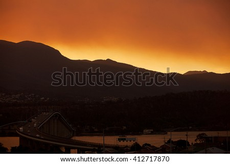 Sunset over Mount Wellington, Hobart, capital city of Tasmania, Australia