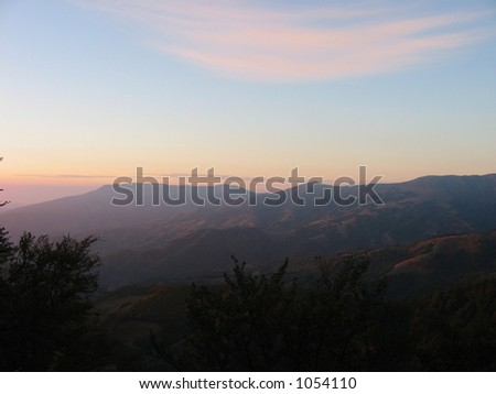 Sunset over mountain in Serbia, Europe