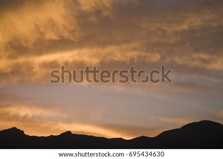 Low mountain range stock images royalty free images vectors sunset over mountain range near the town of orba near valencia spain sciox Gallery