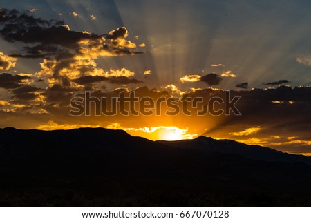 Sunset over Mountain Silhouette