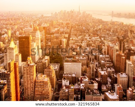 Sunset over New York City - stock photo