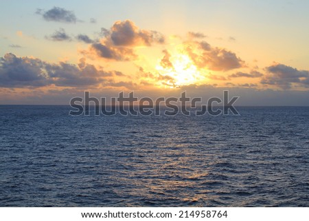 Sunset over North Pacific Ocean - stock photo