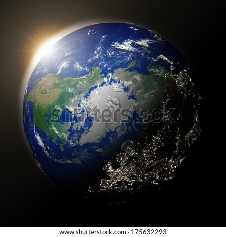 Sunset over northern hemisphere on planet Earth. High detail planet surface with city lights. Elements of this image furnished by NASA.