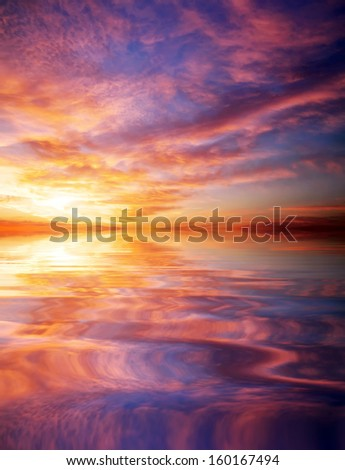 Sunset over ocean. Beautiful sunset sky. Sky Background. Element of design.
