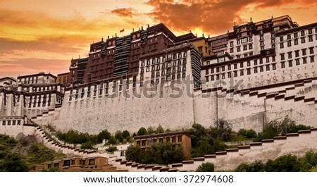 Sunset over Potala Palace in Tibet. - stock photo