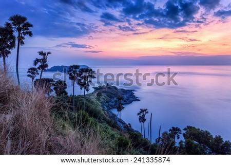 Sunset over Promthep Cape, Phuket, Thailand  - stock photo
