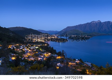 Sunset over Queenstown on Lake Wakatipu, New Zealand