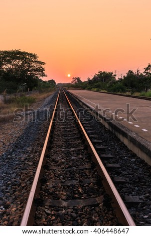 Sunset over railroad in Thailand