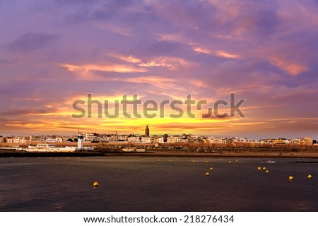 Sunset over Sale, Rabat, Morocco - stock photo