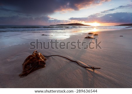 Sunset over Sands Bay at Gairloch in the North West Highlands of Scotland - stock photo