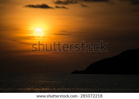 Sunset over sea at Ya Nui beach - stock photo