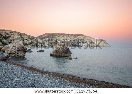 Sunset over sea bay on Cyprus, where Aphrodite was born