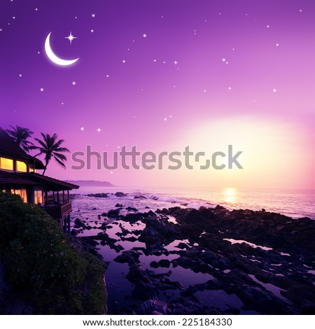 Sunset over sea coastline. Beauty nature background - stock photo