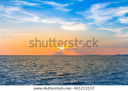 Sunset over seacoast skyline, natural landscape background