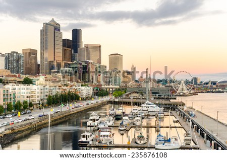 Sunset over Seattle Waterfront - stock photo